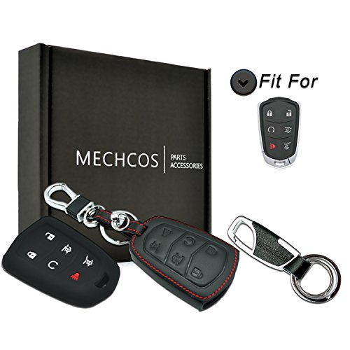 MECHCOS Compatible with 2015-2018 Cadillac Escalade Leather Remote Key fob Cover Leather fit for Cadillac Escalade Key fob case Holder only for 6 Buttons Black Color ()