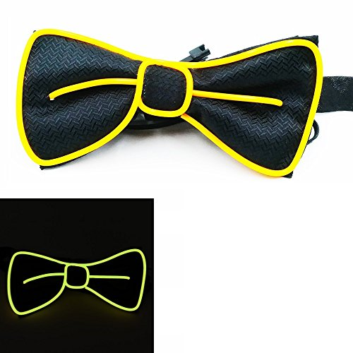 Light Up BowTie Costume Accessory LED Bow Tie Perfect for Halloween Party Christmas New Years Rave Party (Yellow)