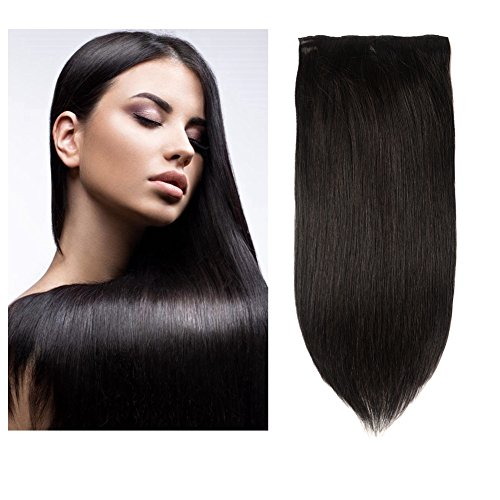 Friskylov Hair 24Inch Human Hair Extensions Clip in Straight Hair Unprocessed Brazilian Clip in Human Hair Extensions Double Weft 8A Grade 100g/3.52oz 7Pieces With 16Clips (24Inch, 1B Natural Black) (In Extensions Hair 24 Human)