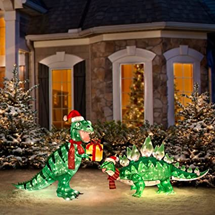 pre lit animated lighted shimmering glittering t rex and stegosaurus pair of dinosaur christmas