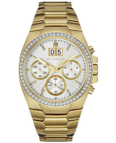 (Wittnauer Mens WN3055 Quartz Crystal Accents Chronograph Gold-Tone 41mm Watch (Renewed) )