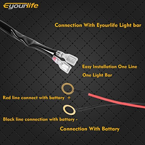 Eyourlife Wiring Harness, Heavy Duty 300W 9ft Led Light Bar Wireless Harness Kit With Remote Control ON/OFF Strobe Switch Universal Fit For Driving Fog Light Work Light(1 LEAD) by Eyourlife (Image #3)