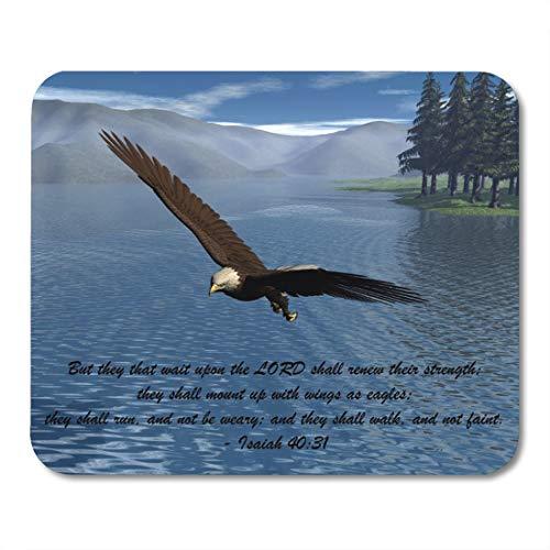 Aikul Mousepad Bald Eagle with Scripture Lake Mountains Pines Trees Mouse Mat 9.5