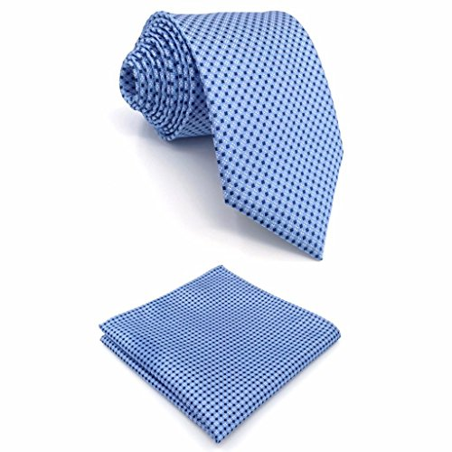 Shlax&Wing New Mens Necktie Pocket Square Set 57.5' 63' Extra Long Silk Tie Set