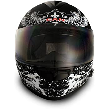 VCAN Blinc 136 Full Face Helmet with Crusader Graphics (Gloss Black, Large)