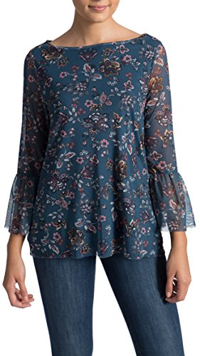 Madison Florals Wallpaper - 89th&Madison Floral Print Mesh Long Sleeve Top, Wallpaper Floral, X-Large