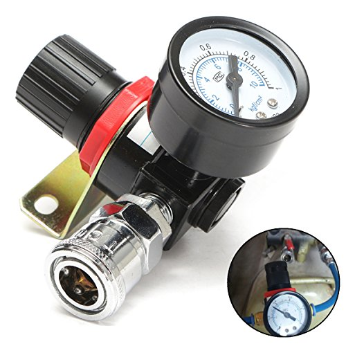 Best to Buy New 1/4inch Air Pressure Regulator Relief Quick Release Compressor with Gauge Hose rainbird pressure gauge peer tiretek jenn air regulator wilkins
