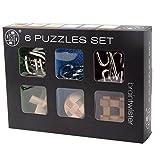 Puzzle Boxes, PeleusTech 6Pcs IQ Brain Teaser Set Metal Puzzle + Wooden Kong Ming Lock for Children Adults MT1142