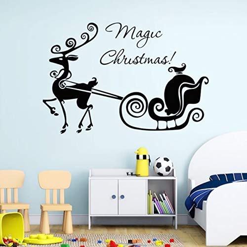 Home Kitty Christmas Wall Decals Stickers Window Clings,Magic Christmas Quotes Lettering Vinyl Words Wall Decor Removable DIY Wall Decal Sticker for Kids Rooms Nursery Living Rooms Bedrooms