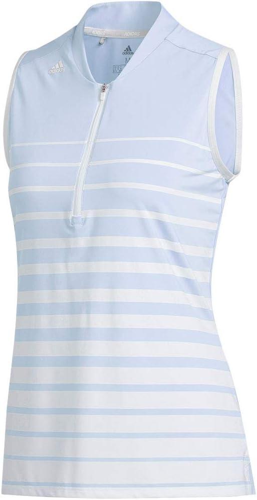 adidas Women's Engineered Stripe 1/4 Zip Sleeveless Golf Top Blue S