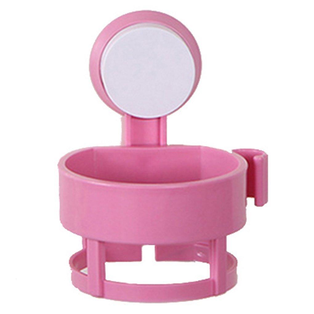 Kingwin - Soporte de pared para secador de pelo redondo con ventosa al vacío (rosa)
