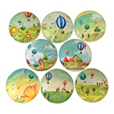 Set of 8 Whimsical Hot Air Balloon Print Wood Cabinet knobs