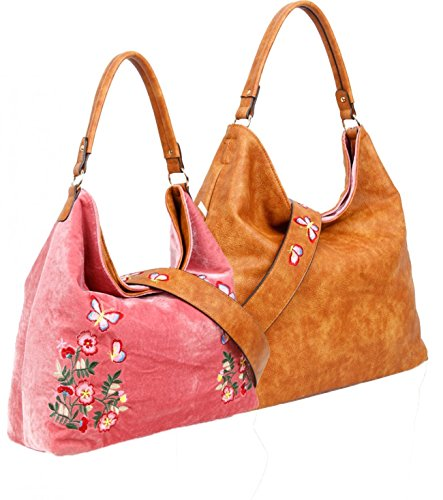 Handbags REVERSIBLE Way Faux Velvet Rose LeahWard Reversible For Women Women's Two Use Tan Shoulder Handbags Leather Old vxwxFnqf8