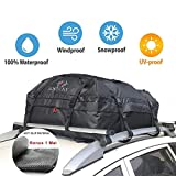 ROKIOTOEX RTB3943 Waterproof Canvas Cargo Storage Roof Bag and Mat with Straps to Crossbars or Roof Basket - Carrier Bag 16 Cubic Feet Capacity