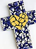 Mexican Tile Talavera Mosaic Wall Cross 9 inch X 6 inch Handcrafted Mosaic Yellow Heart with Blue Mexican Ceramic tile,