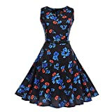Vibola Women Dress Clearance Vintage Hepburn Dress V-Neck Sleeveless Flower Print Dress Belt (XL, Black)