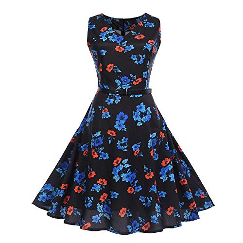DEATU Women Evening Party Dress Ladies Vintage Elegance Printing Sleeveless V Neck Prom Swing Dress with Belt(Black A,XXL)