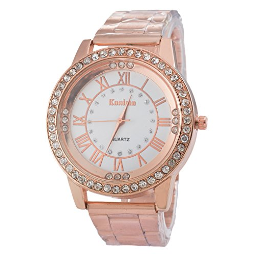 Souarts Unisex Round Rhinestone Big Dial Roman Numeral Analog Quartz Wrist Watch 22.5cm (Rose Gold Color)