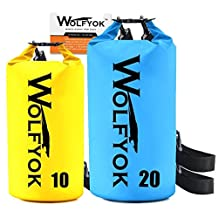 (2 Packs) 20L / 10L Dry Bag - Wolfyok Roll Top Waterproof Floating Duffle Dry Gear Bag with Adjustable Shoulder Straps for Boating / Kayaking / Fishing / Rafting / Camping / Canoeing / Snowboarding