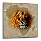 3dRose dpp_184661_3 King of The Jungle Lion and Africa Map Art Original Wall Clock, 15 by 15-Inch
