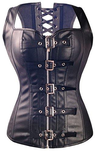 Corset Front Buckle (Lotsyle Women's Faux Leather Zipper Buckles Front Corset (M 5502Black))