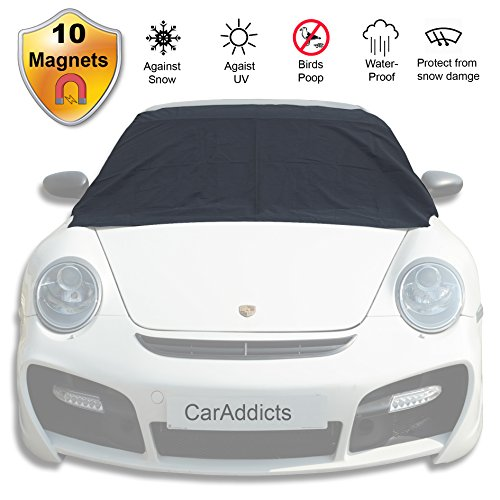 Windshield Cover Ice Snow Magnetic Shade Frost Dust Rain Resistant–No Ice Scraping Waterproof Windproof Durable Material Outdoor Cover Fit All Cars Size S/L & 6/10 Magnets - Take A Car How From To Scratches Out