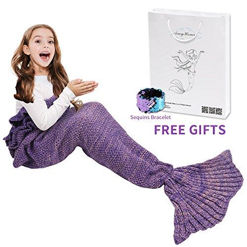 Mermaid Tail Blanket, Amyhomie Mermaid Blanket Adult Mermaid Tail Blanket, Crotchet Kids Mermaid Tail Blanket for Girls (Kids, Purple)