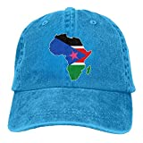 Unisex Baseball Cap Yarn-Dyed Denim Hat South Sudan Flag in Africa Map Adjustable Snapback Peak Cap