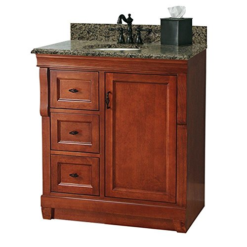 Foremost NACAQU3122DL Naples 31-Inch Width x 22-Inch Depth Vanity with Left Drawers and Granite Top Warm Cinnamon ()