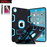 iPad Air 2 Case, TabPow [Hybrid Shockproof Case] Rugged Triple-Layer Shock-Resistant Drop Proof Defender Case Cover with Kickstand [Full Warranty] for iPad Air 2 with Retina Display/iPad 6,Blue