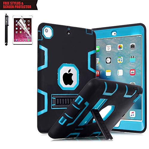 iPad Air 2 Case, TabPow [Hybrid Shockproof Case] Rugged Triple-Layer Shock-Resistant Drop Proof Defender Case Cover with Kickstand [Full Warranty] for iPad Air 2 with Retina Display/iPad - Case Fudge