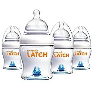 Munchkin Latch BPA-Free Baby Bottle, 4 Ounce, 4 Pack