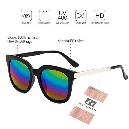 KINDOYO de protection mode lunettes soleil lunettes de soleil miroir hommes soleil femmes lunettes polarisées ovales lunettes Lentille soleil de de et Lunettes Multicolore UV400 unisexes Noir non Cadre rqwx76OrT