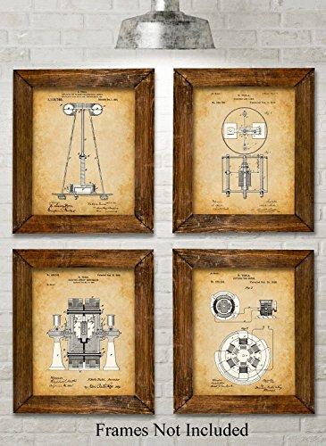Original Tesla Patent Art Prints - Set of Four Photos (8x10) Unframed (Stars Retro)