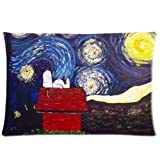 Cute Snoopy Starry nightSoft Pillowcase Custom Soft Zippered Throw Pillow Cover Cushion Case Fasfion Design Two Sides Printed 20x36 Inches