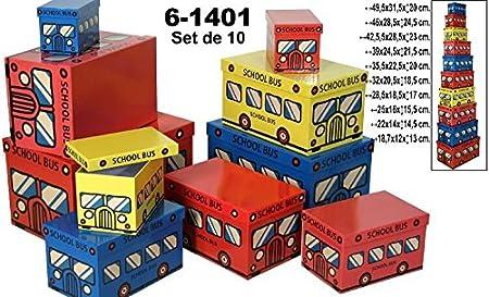 DRW Set 10 Cajas de cartón Decorada con Dibujos de autobus 49,5x31,5x20cm (Caja Grande): Amazon.es: Hogar