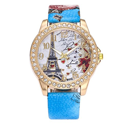 BCDshop Womens Wrist Watch Vintage Paris Eiffel Tower Leather Band Crystal Quartz Dial Watch (Blue, Stainless Steel) (Blue Dial Jewelry)