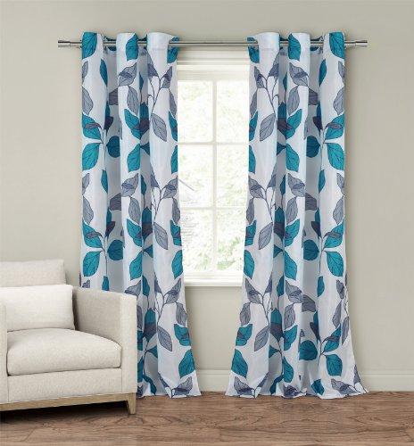 Duck River Textiles Karine Faux Silk Grommet Pair Panel, Grey/Blue