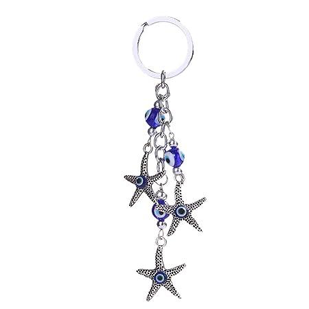 Kentop - Llavero de acero inoxidable con estrella de mar ...