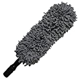 Microfiber Hand Car Duster - Lee Outdoor Multipurpose 31.5'' Car and Home Detail Duster with Extendable Soft Handle, Exterior and Interior Use,Lint Free, Grey