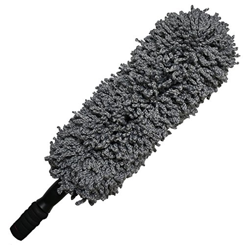 (Microfiber Hand Car Duster - Lee Outdoor Multipurpose 31.5'' Car and Home Detail Duster with Extendable Soft Handle, Exterior and Interior Use,Lint Free, Grey)