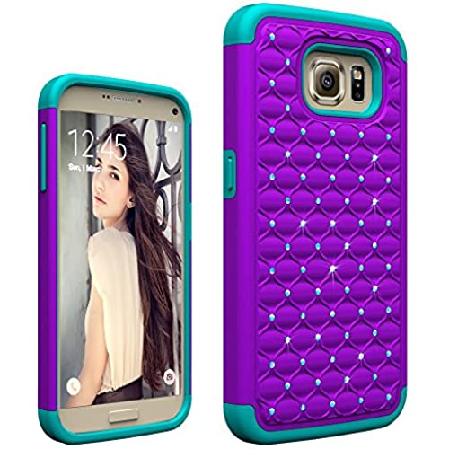 Galaxy S7 case, vogue shop [Shock-Absorption]Studded Rhinestone Bling Hybrid Dual Layer Defender Protective Case for Samsung Galaxy S7-Purple Teal Sales