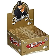 6 Smoking Brand Gold Ultra Thin King Size Slim Cigarette Rolling Papers Packs (33 Leaves/Pack) + Beamer Smoke Sticker. For Legal Smoking Herbs, Rolling Tobacco, Herbal Mixes, Rollers, Ryo, Myo