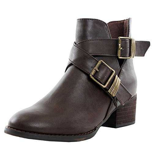 Broncos Brown Leather - Breckelles Bronco 11 Chunky High Heel Buckle Ankle Booties Boots Brown   11 6.5   US