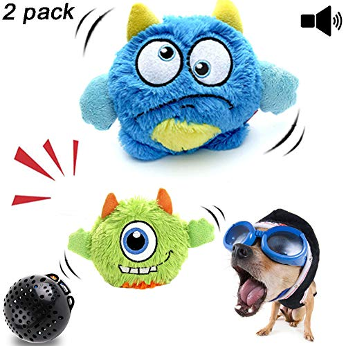 (NEILDEN Interactive Dog Toys,Plush Squeaky Giggle Ball,Automatic Electronic Shake Dog Toy,Entertainment Suitable for Small to Medium Dogs Best Gift for Puppy(Two Plush Toys+Squeaker Ball))