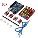 10X Geekcreit CNC Shield + UNO R3 Board + 4x A4988 Driver Kit With Heat Sink For Arduino 3D Printer
