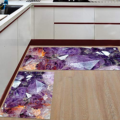 Prime Leader 2 Piece Non-Slip Kitchen Mat Runner Rug Set Doormat Purple Diamonds Amethyst Door Mats Rubber Backing Carpet Indoor Floor Mat (15.7