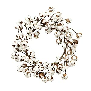 """keebgyy Cotton Wreath, 12""""- 24"""" 80 Petals Natural Real White Dry Cotton Flowers Branch Vintage Decorative Bundle, for Festival Front Door Hanging Decorations 2"""