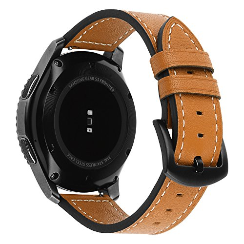 Gear S3/Galaxy Watch 46mm Bands, iWonow 22mm Quick Release Genuine Leather Watch Band Sport Replacement Strap Metal Clasp for Samsung Gear S3 Classic/Frontier, Gear 2/Neo/Live, Asus ZenWatch (Chrono Ladies Watch)