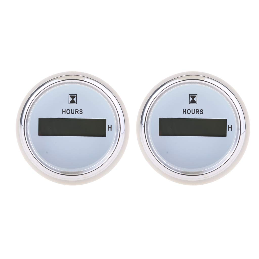 B Blesiya 2X Digital Hour Meter Hours Guage - 99999.9 LED Display - 52mm / 2 inch